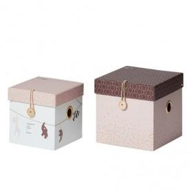 Conjunto de 2 Caixas Pequenas Rosa - Done by Deer
