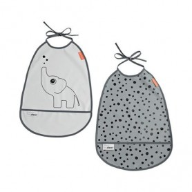 Conjunto de 2 Babetes com bolso Elphee Grey - Done by Deer