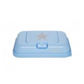 Funkybox Caixa pequena para toalhitas To Go Azul com Estrela Cinza