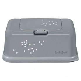Funkybox Caixa grande para toalhitas Cinza com Estrelinhas