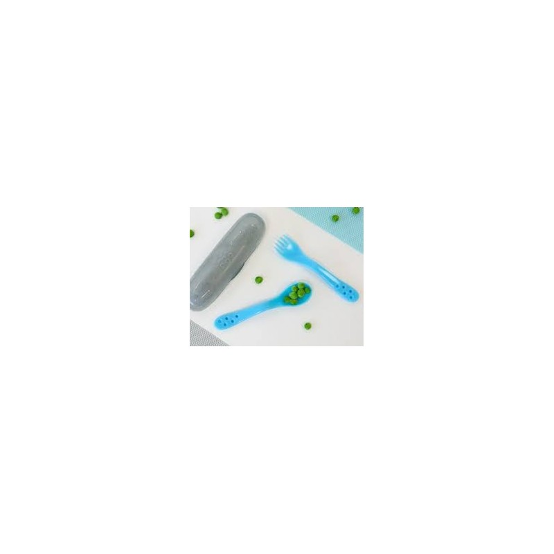 Conjunto de Talheres e Caixa de Transporte Azul - Kiokids